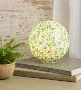 Lighted Floral-Print Decorative Glass Globe