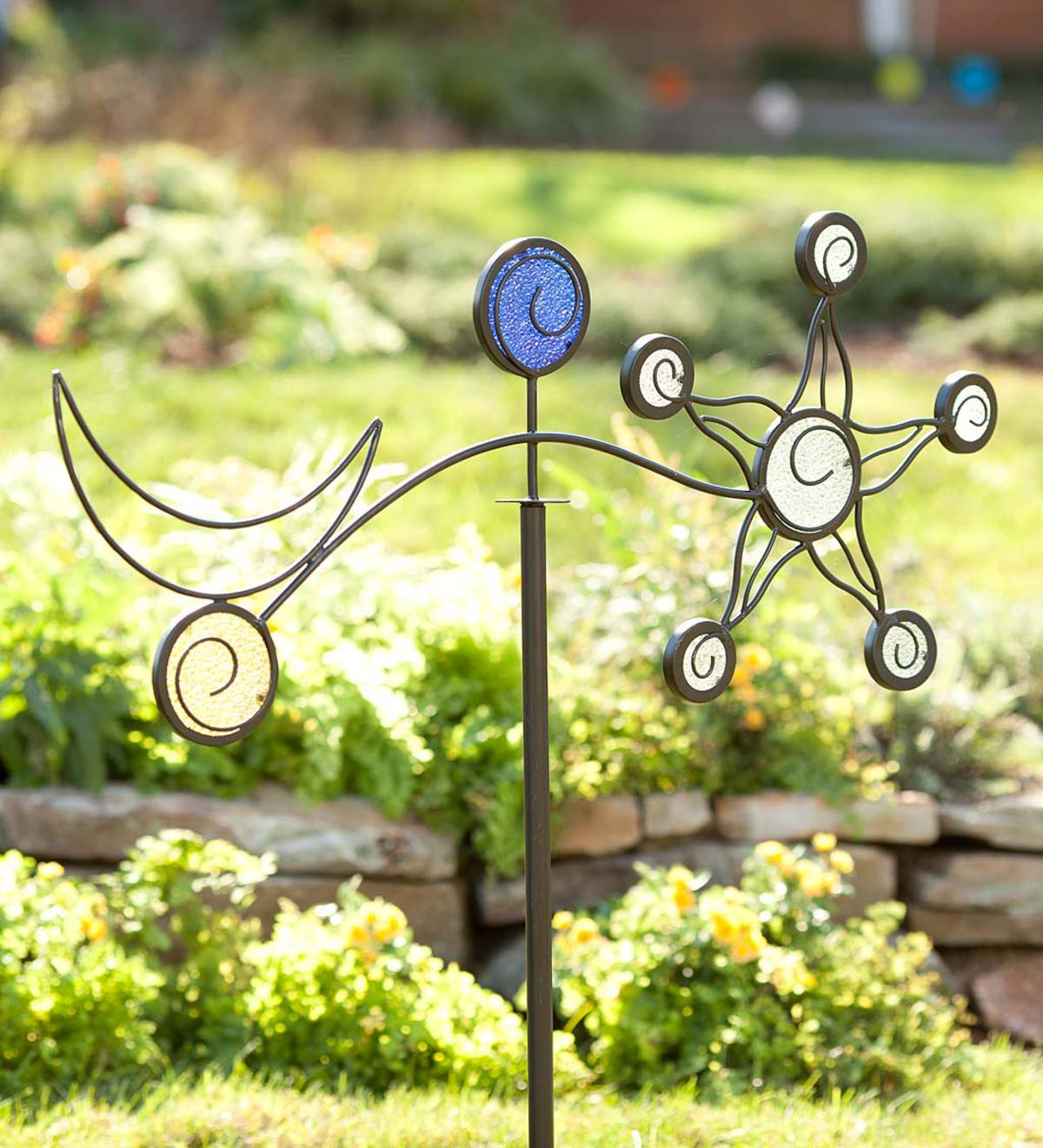 iron sun and moon garden stake garden d cor by theme garden art wind and weather. Black Bedroom Furniture Sets. Home Design Ideas