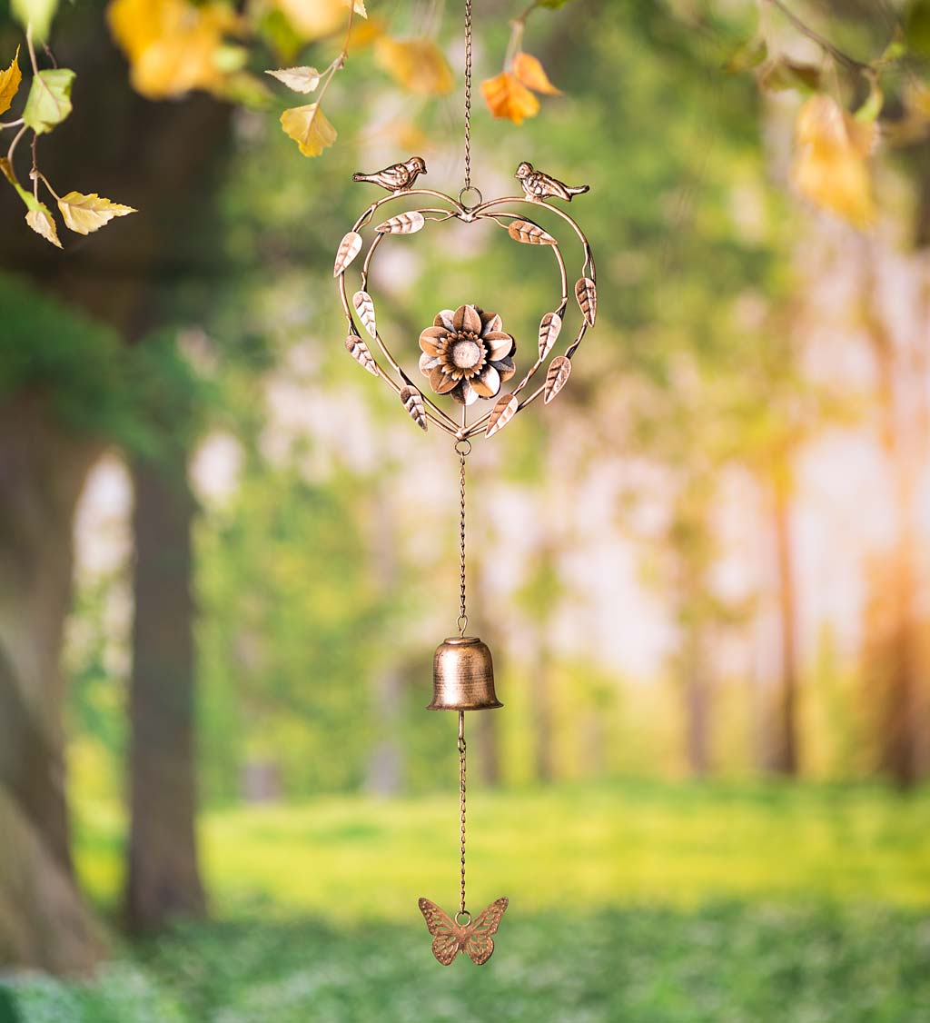 Handcrafted Golden Metal Wind Chime with Birds, Heart, Flower, Butterfly and Bell