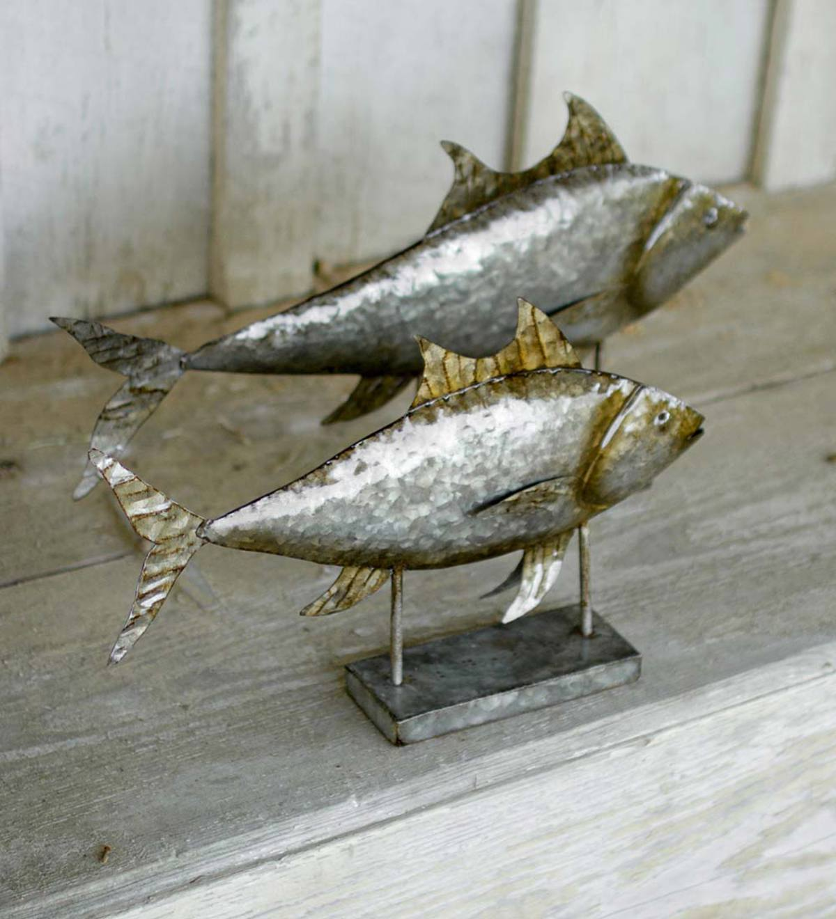 Metal Tuna Sculpture, Set of 2