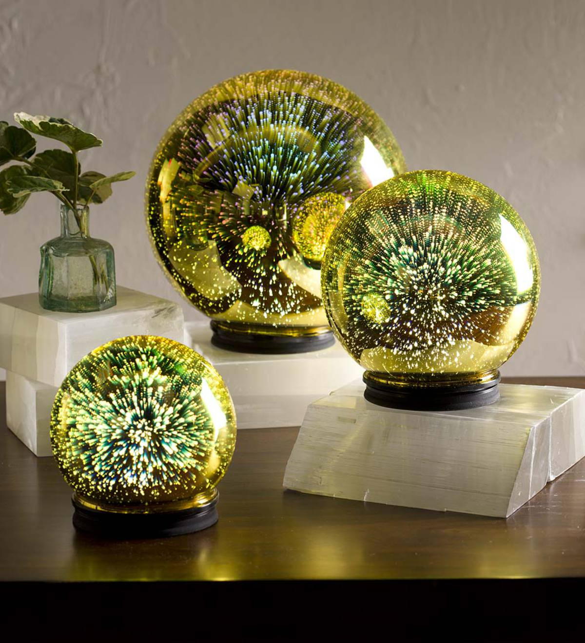 3D Lighted Mercury Glass Balls, Set of 3 - Free 2 Day Amazon Delivery - Yellow