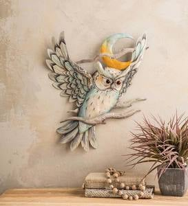 Metal and Capiz Owl and Moon Wall Art