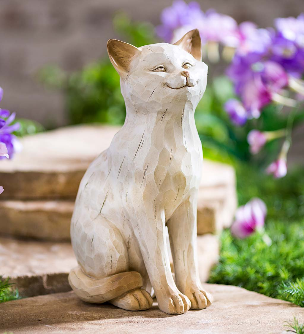 Smiling White Cat Resin Statue With Look of Carved Wood