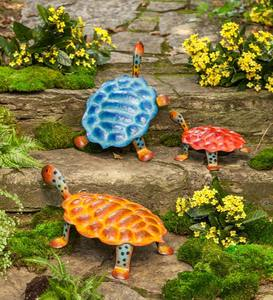 Colorful Metal Turtle Sculptures, Set of 3