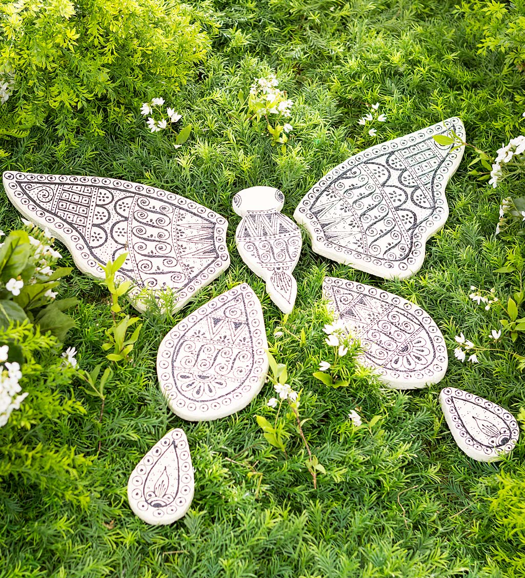 Handcrafted 7-Piece Butterfly Garden Stone With Unique Hand-Drawn Designs