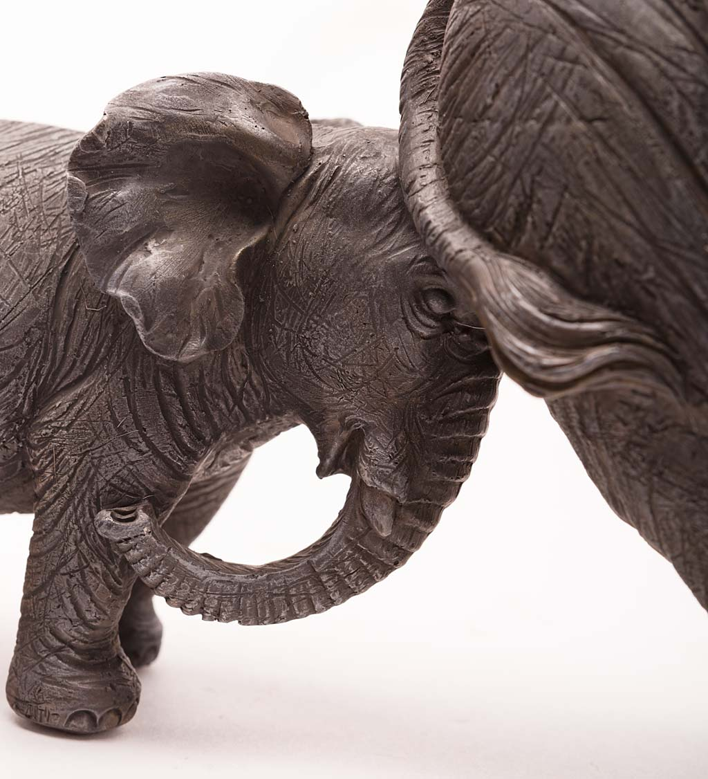 Baby Elephant Pushing Mama Elephant Tabletop Sculpture