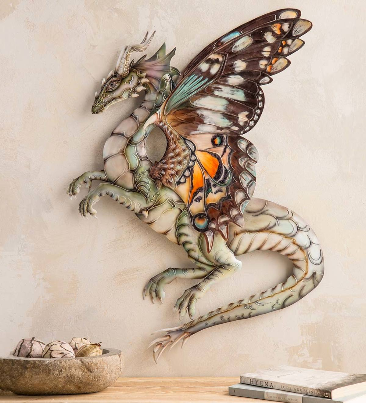 Handcrafted Metal and Capiz Butterfly-Wing Dragon Wall Art