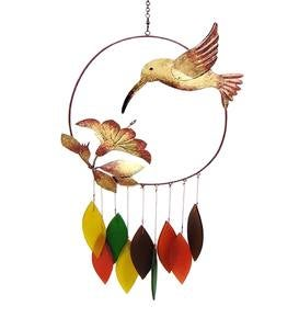 Handcrafted Metal and Glass Hummingbird Wind Chime