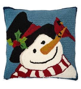 Indoor/Outdoor Hooked Snowman and Cardinal Pillow