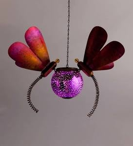 Hanging Solar Lighted Orb with Metal Dragonflies