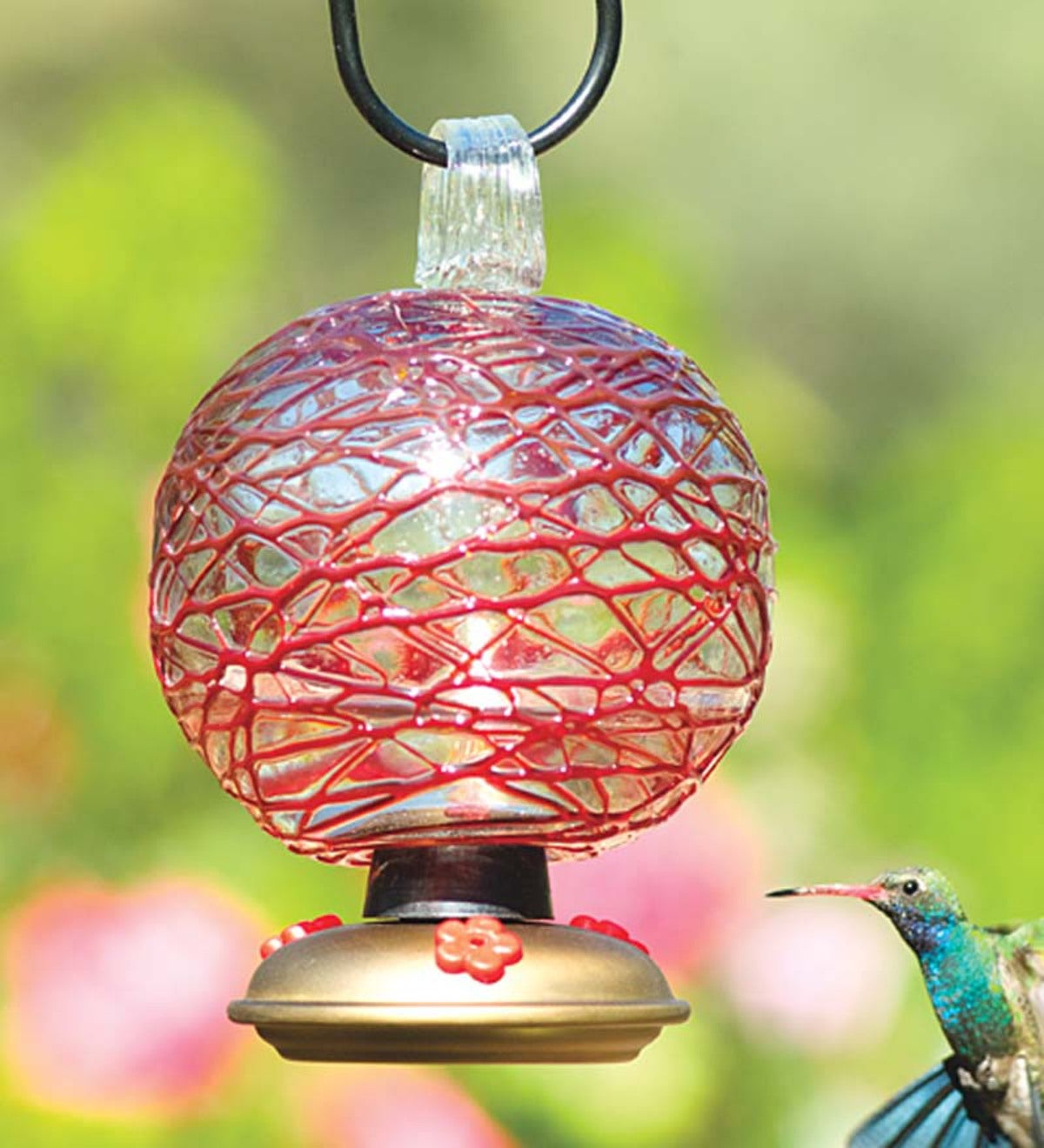 Red Dew Drop Glass Hummingbird Feeder - Red