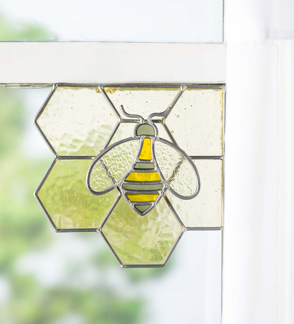 Handcrafted Stained Glass Bee on Honeycomb Corner Art