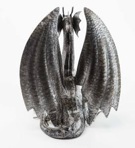 Handcrafted Indoor/Outdoor Silver Metal Dragon Sculpture