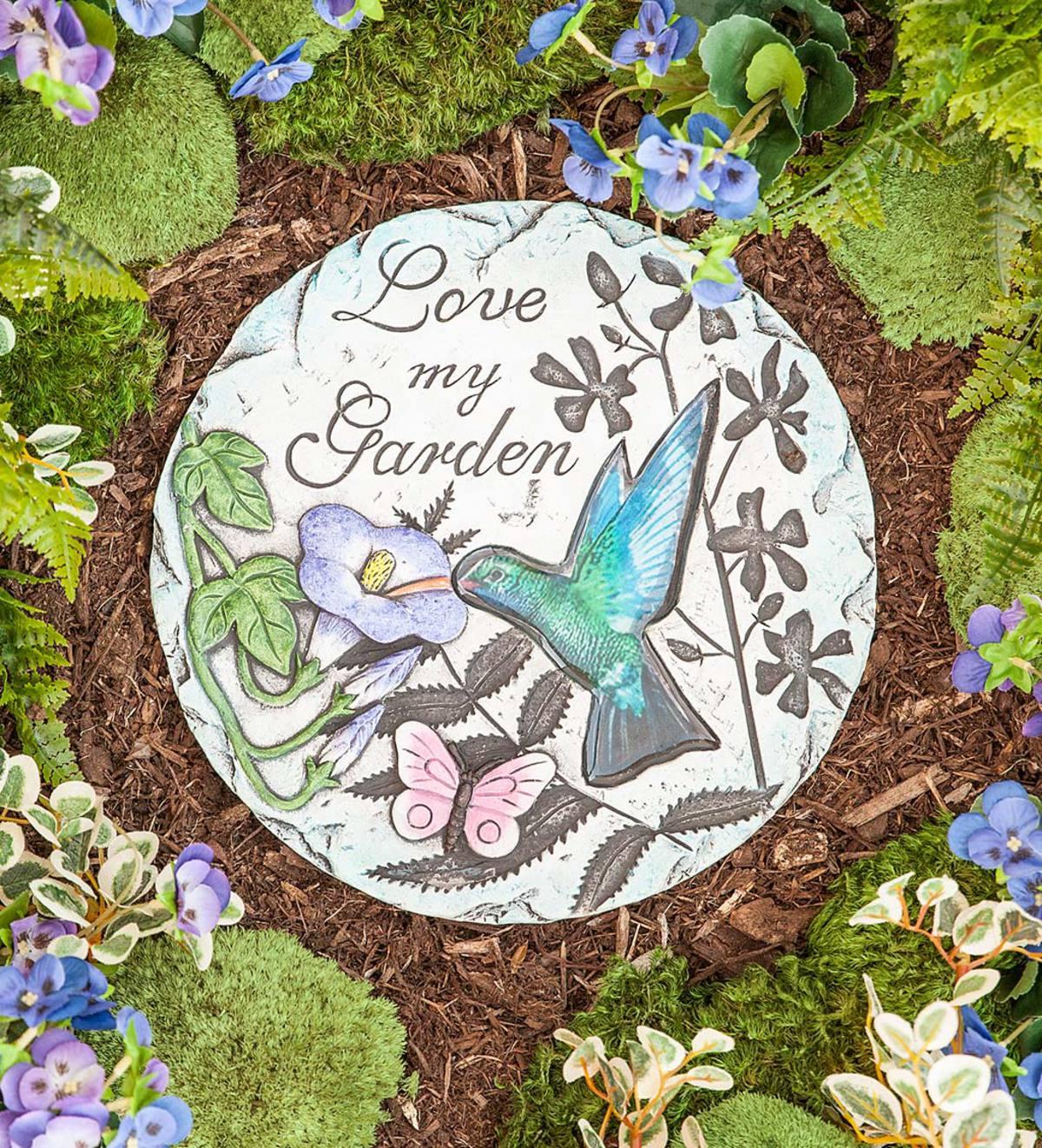 Cement Garden Art: Hummingbird Glass And Cement Garden Stone