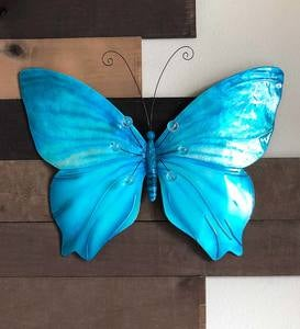 Metal and Capiz Blue Butterfly Wall Art