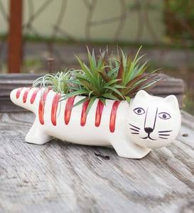 Whimsical Ceramic Cat Planter