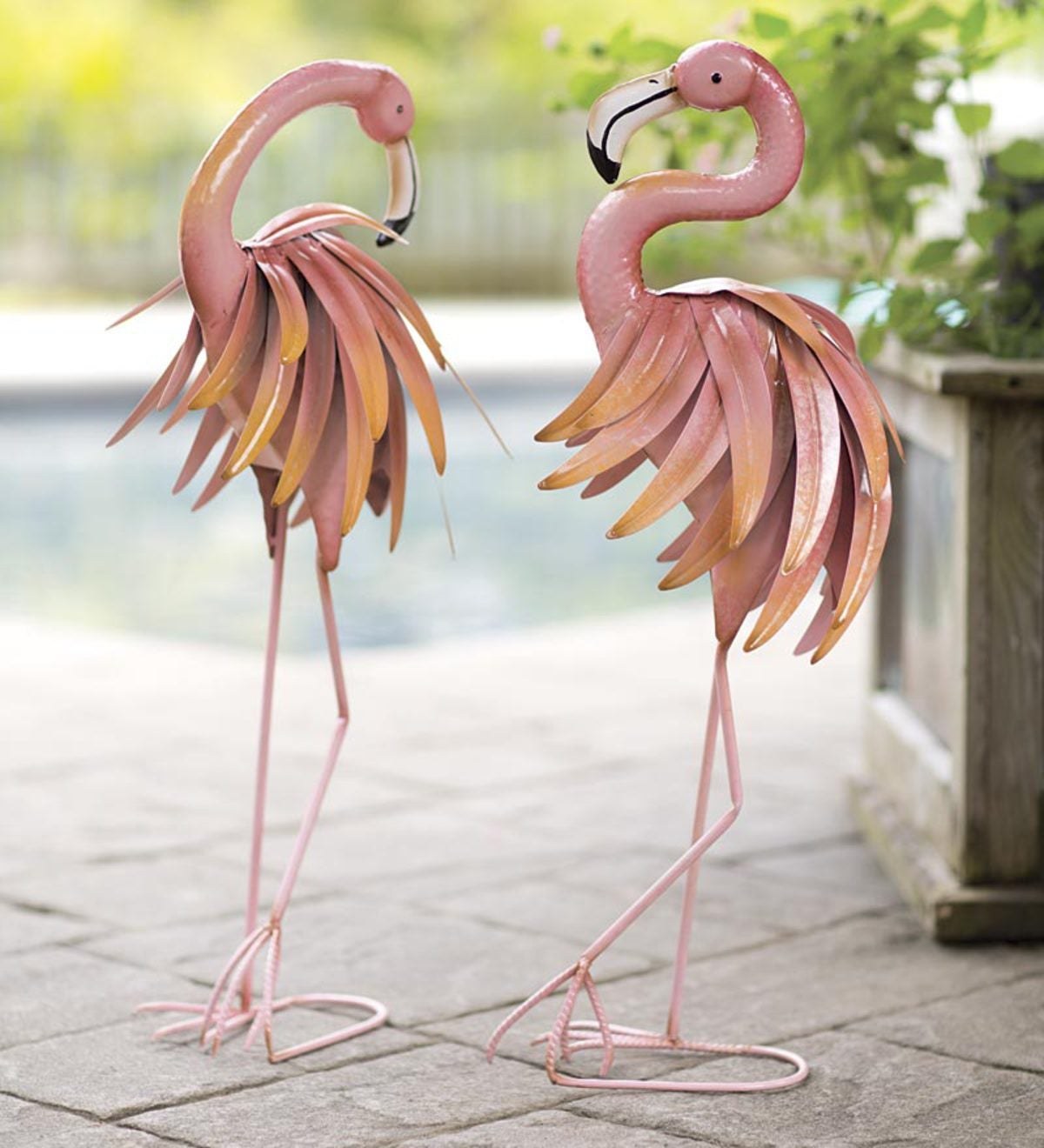 Feather Flamingo Metal Yard Sculptures, Set of 2 | Wind and Weather