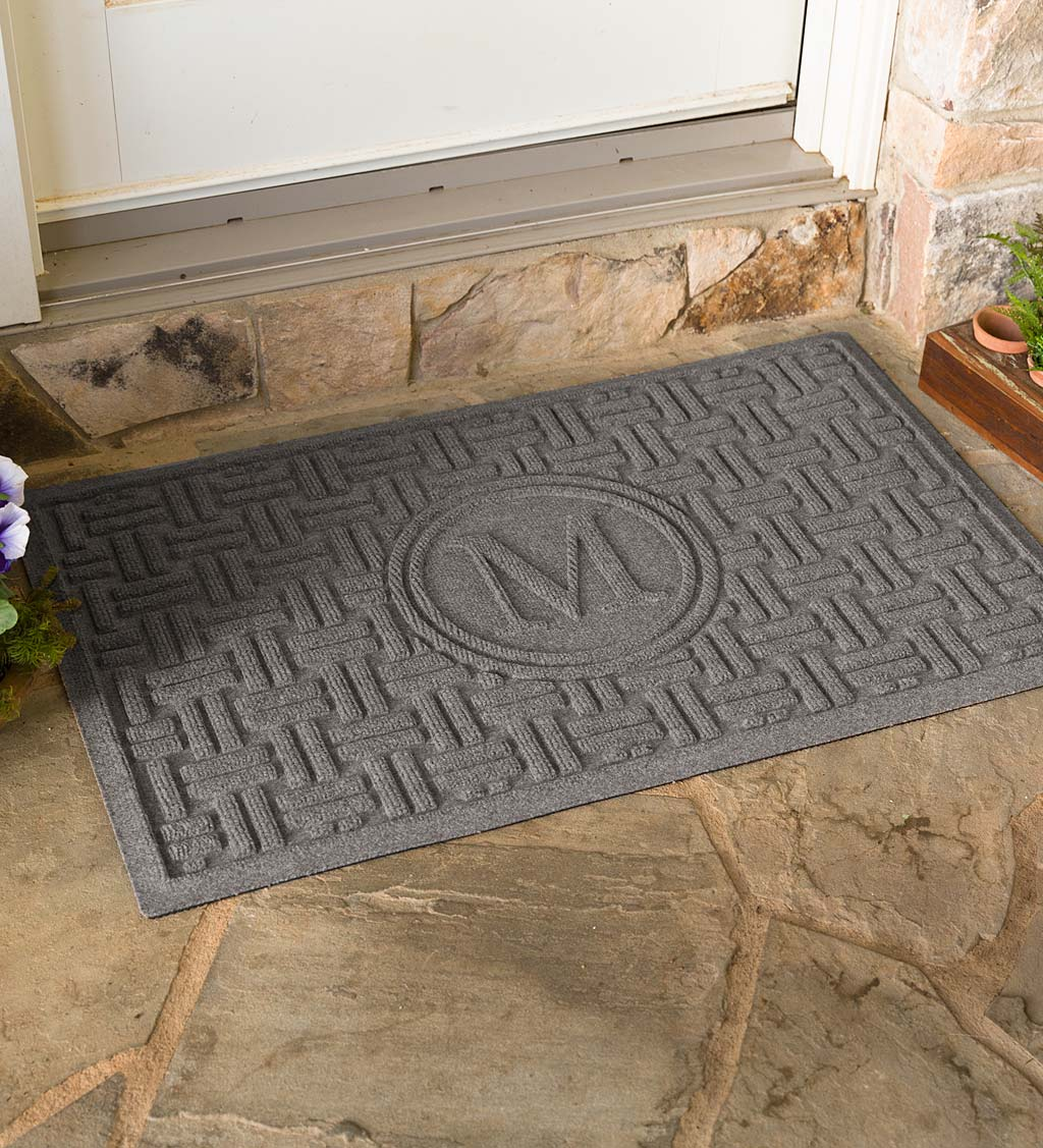 Waterhog Basket Weave Doormat with Single Initial, 2' x 3' - Gray