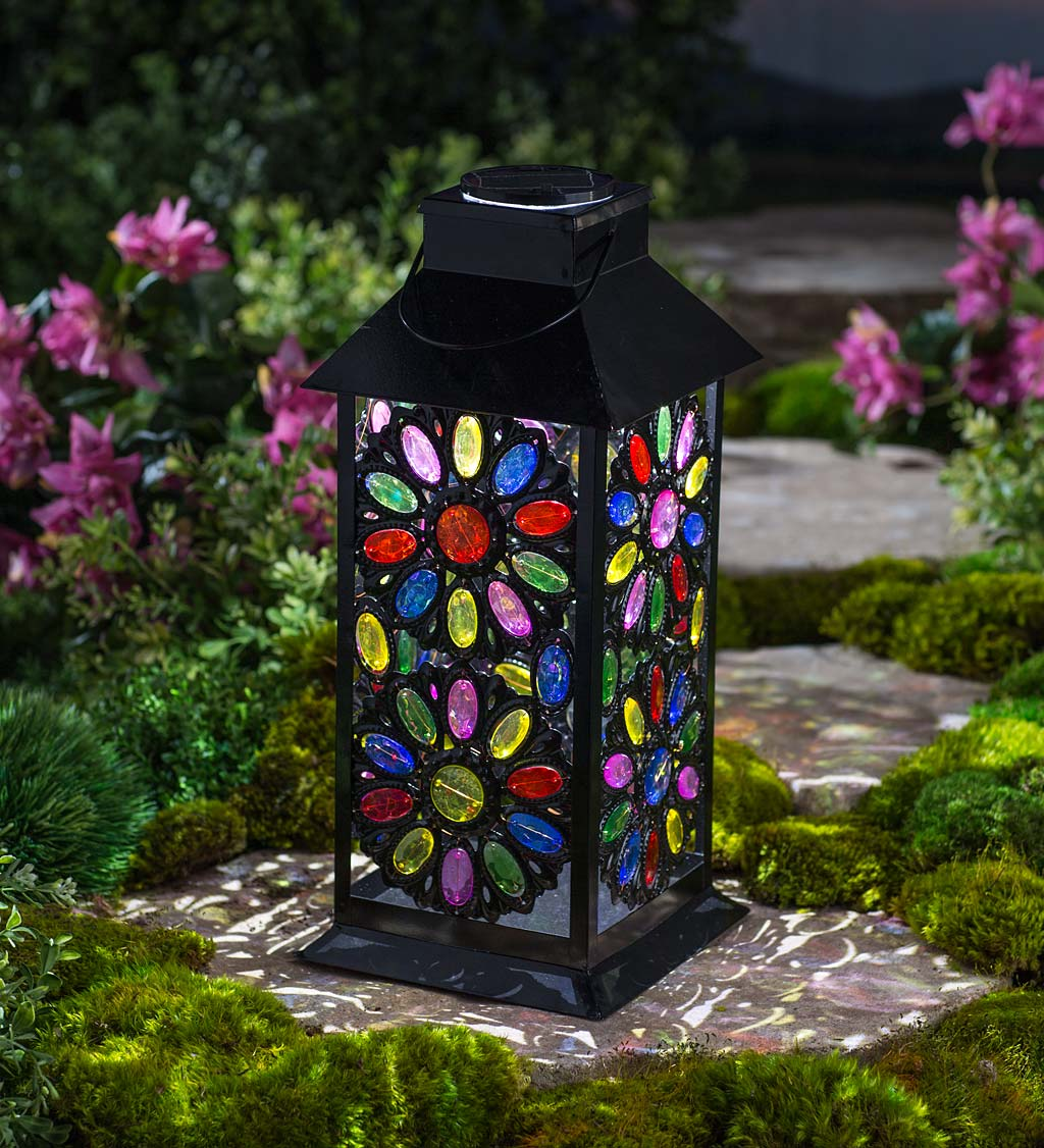 Solar Jeweled Metal Lantern