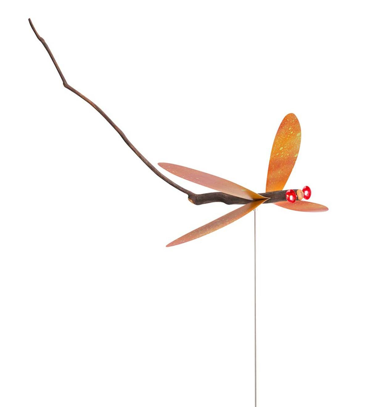 Handcrafted Twig Dragonfly Garden Stake - Red