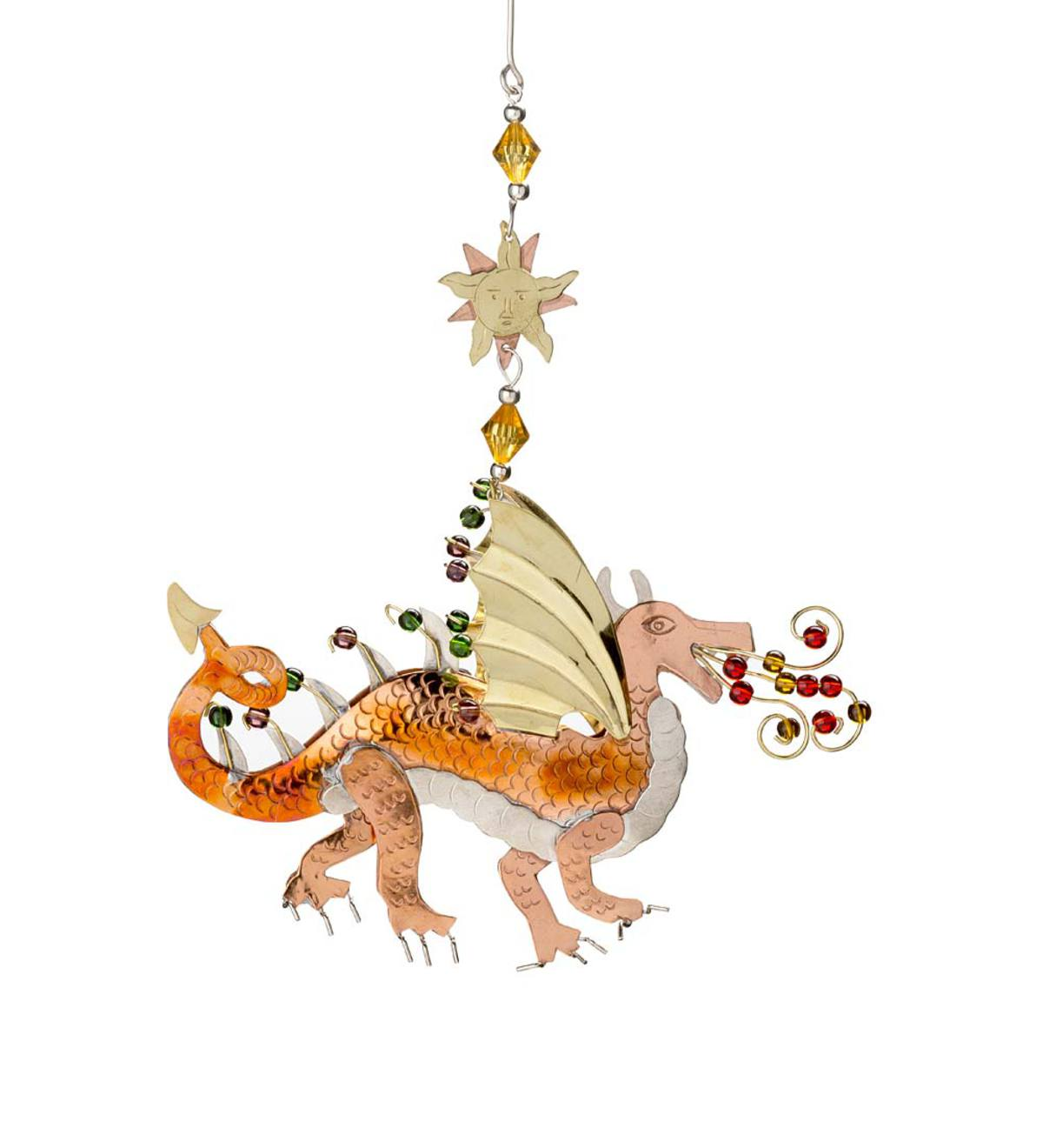 Tri-Metal Jeweled Dragon Ornament