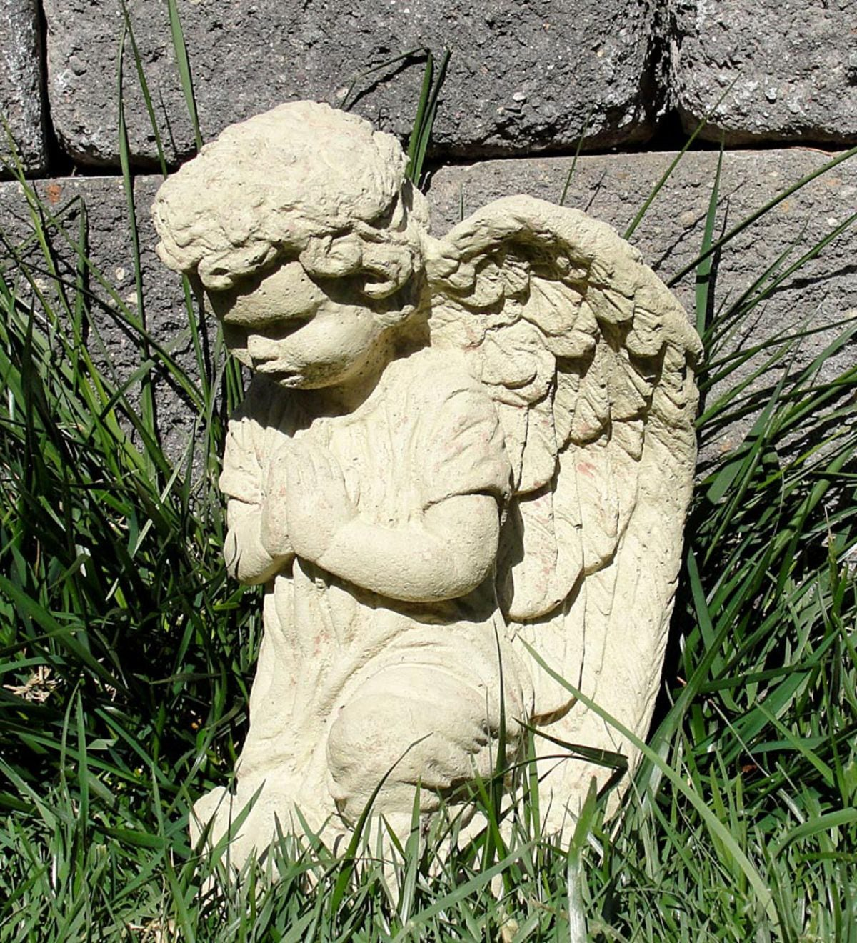 Vintage Praying Angel Cast Stone Statue