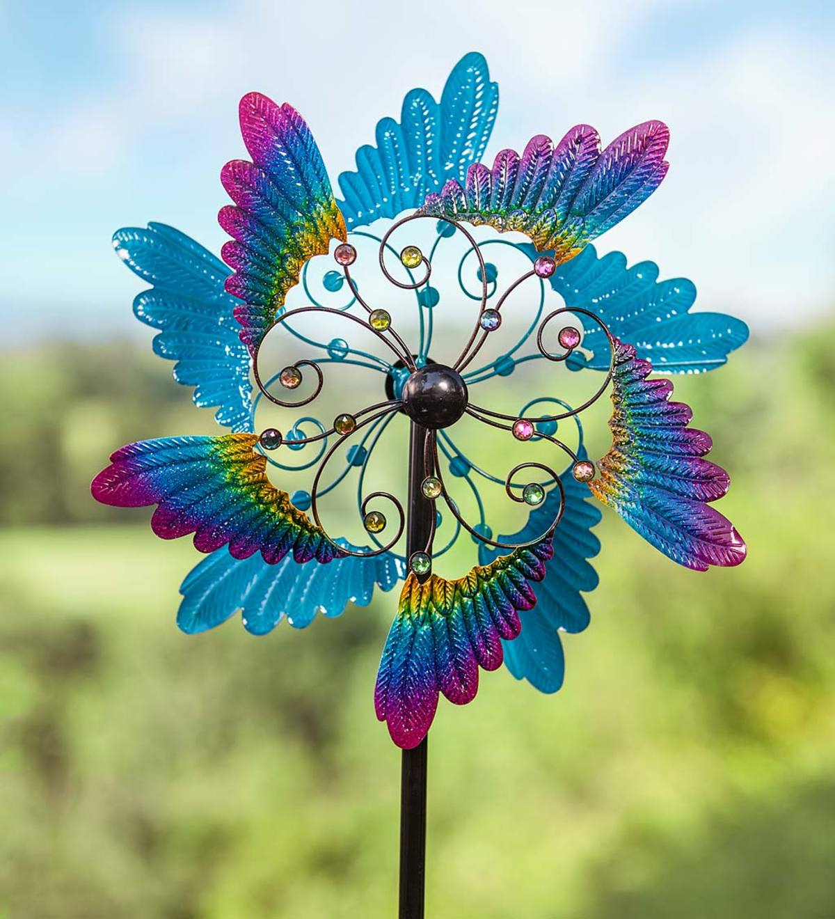 Colorful Wings and Jewels Metal Wind Spinner