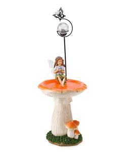 Fairy on Mushroom Birdbath with Solar Ball