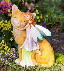 Sweet Fairy with Ginger Kitten Indoor/Outdoor Sculpture