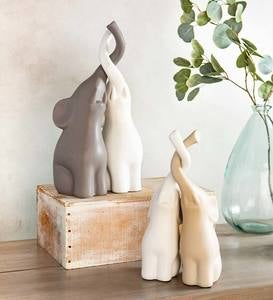 Large Ceramic Elephants with Intertwined Trunks Sculptures, Set of 4