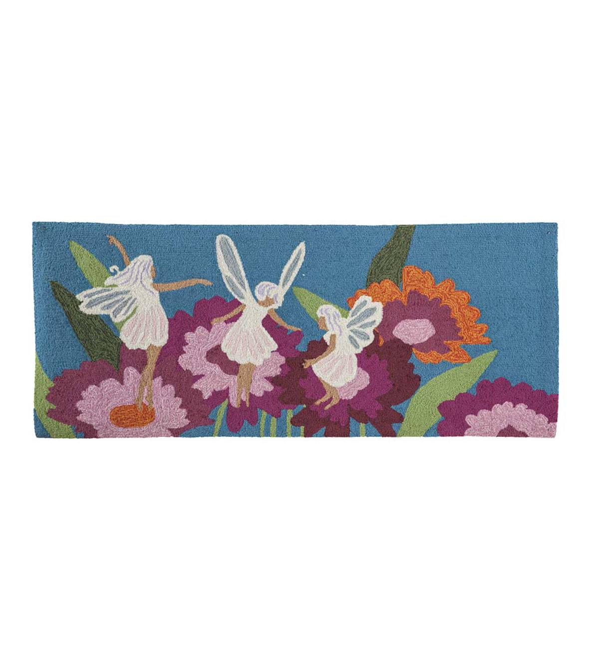 Indoor/Outdoor Fairy-Themed Hand-Hooked Carpet Runner