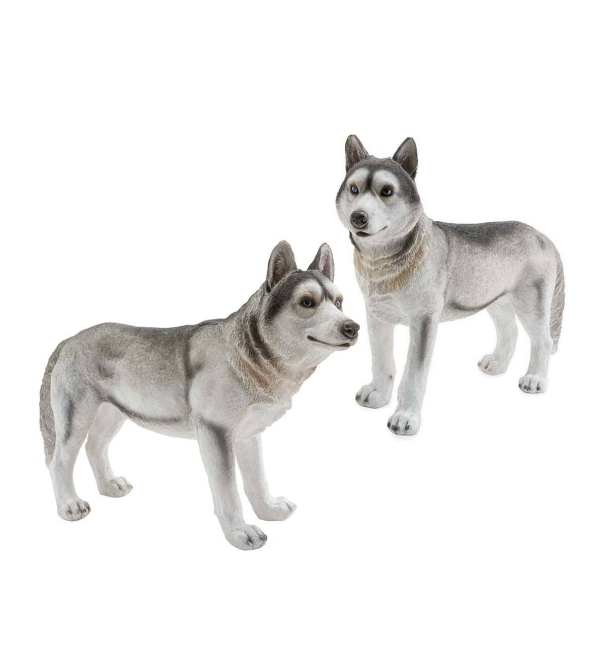 Siberian Husky Dog Statues, Set of 2