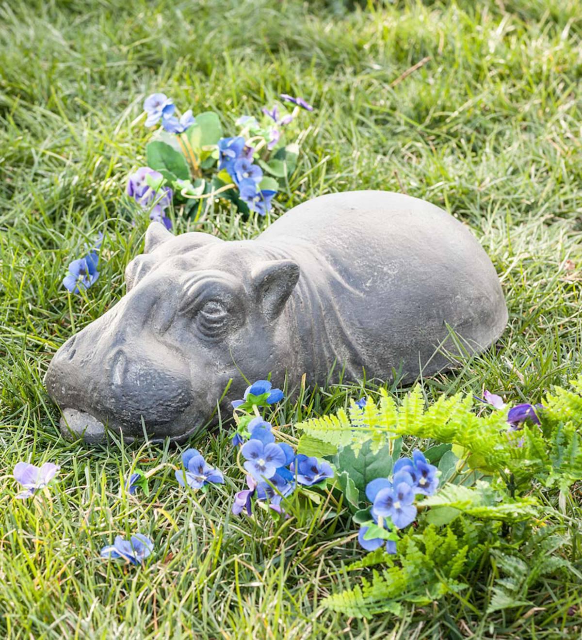 Garden Art Sculpture: Baby Garden Hippo Sculpture