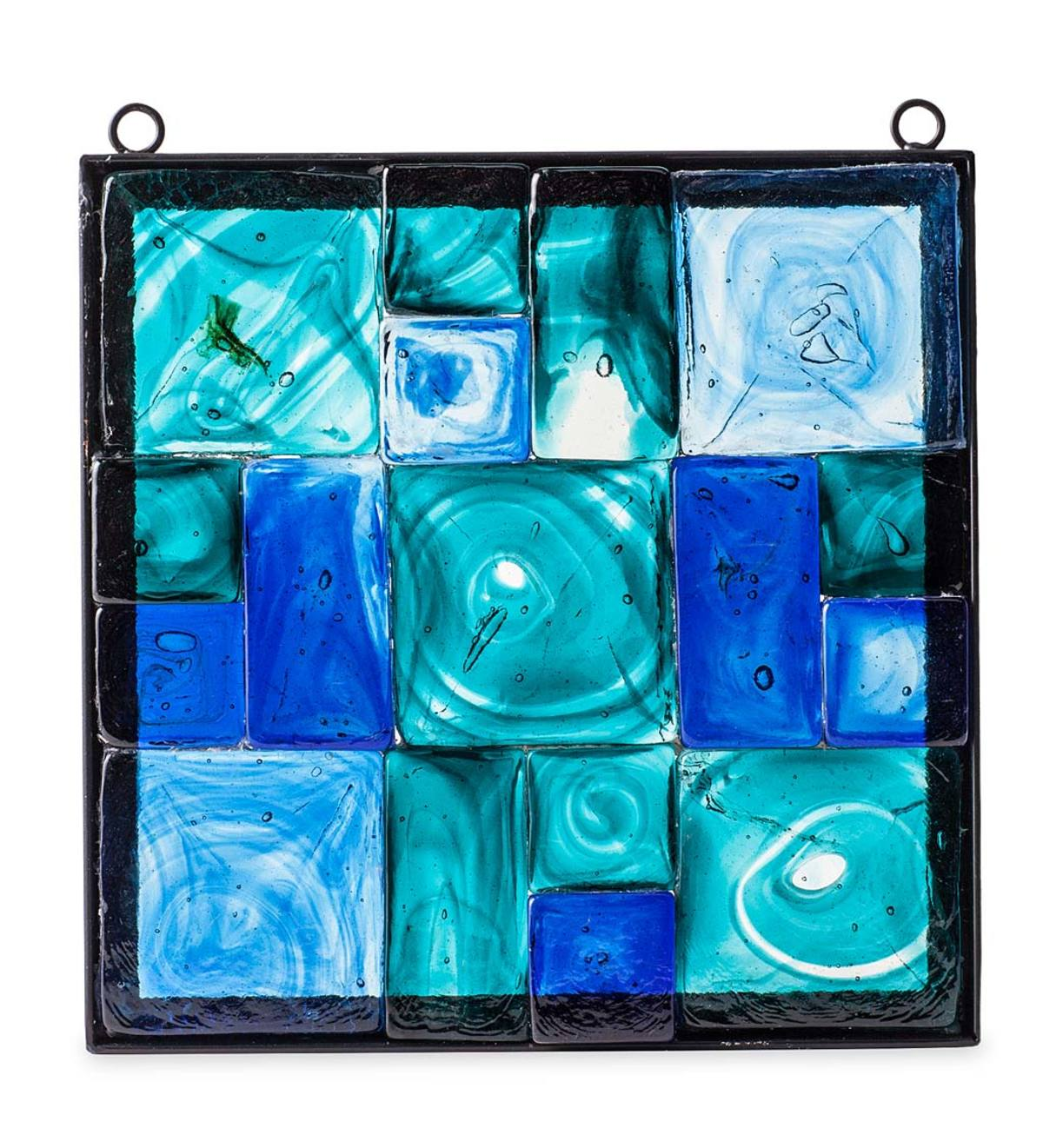 Metal-Framed Colorful Glass Block Wall Art - Blue