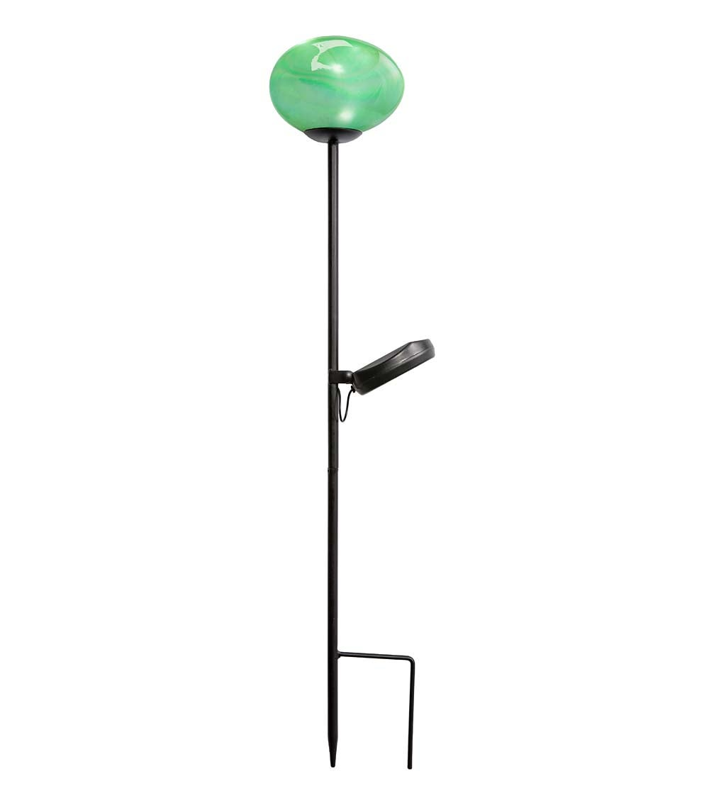 Solar Glowing Glass Globe Garden Stake