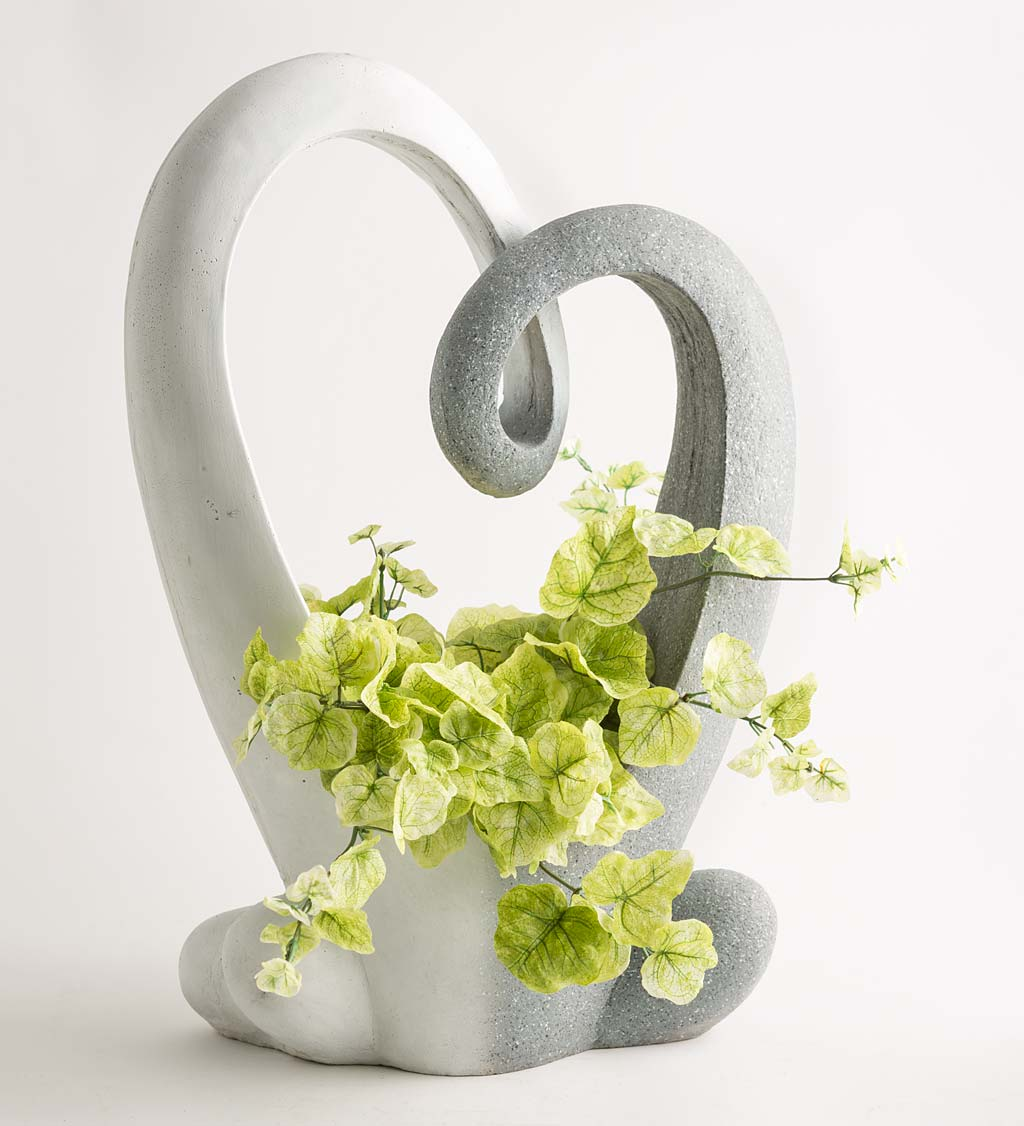 White and Granite-Color Abstract Outdoor Heart-Shaped Planter