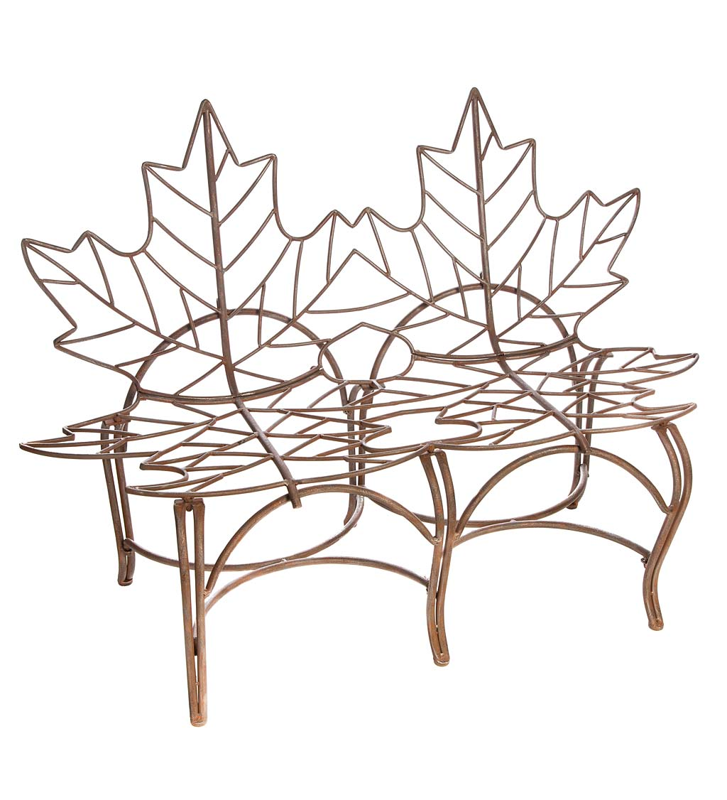 Rust Finish with Brushed Metallic Leaf Garden Bench