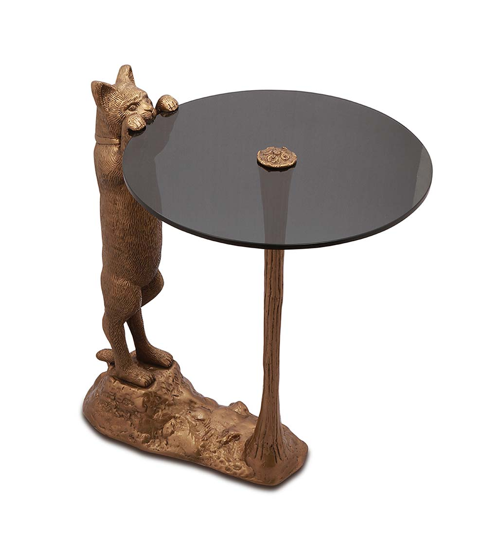 Handcrafted Curious Cat Glass-Topped Side Table
