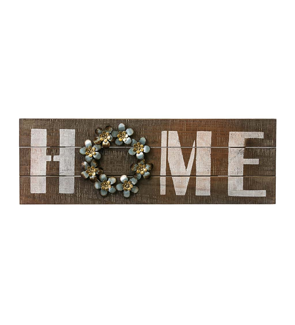 Wooden Home Sign with Metal Wreath