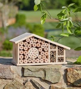 Mid-Century Style Wood and Bamboo Bee Habitat