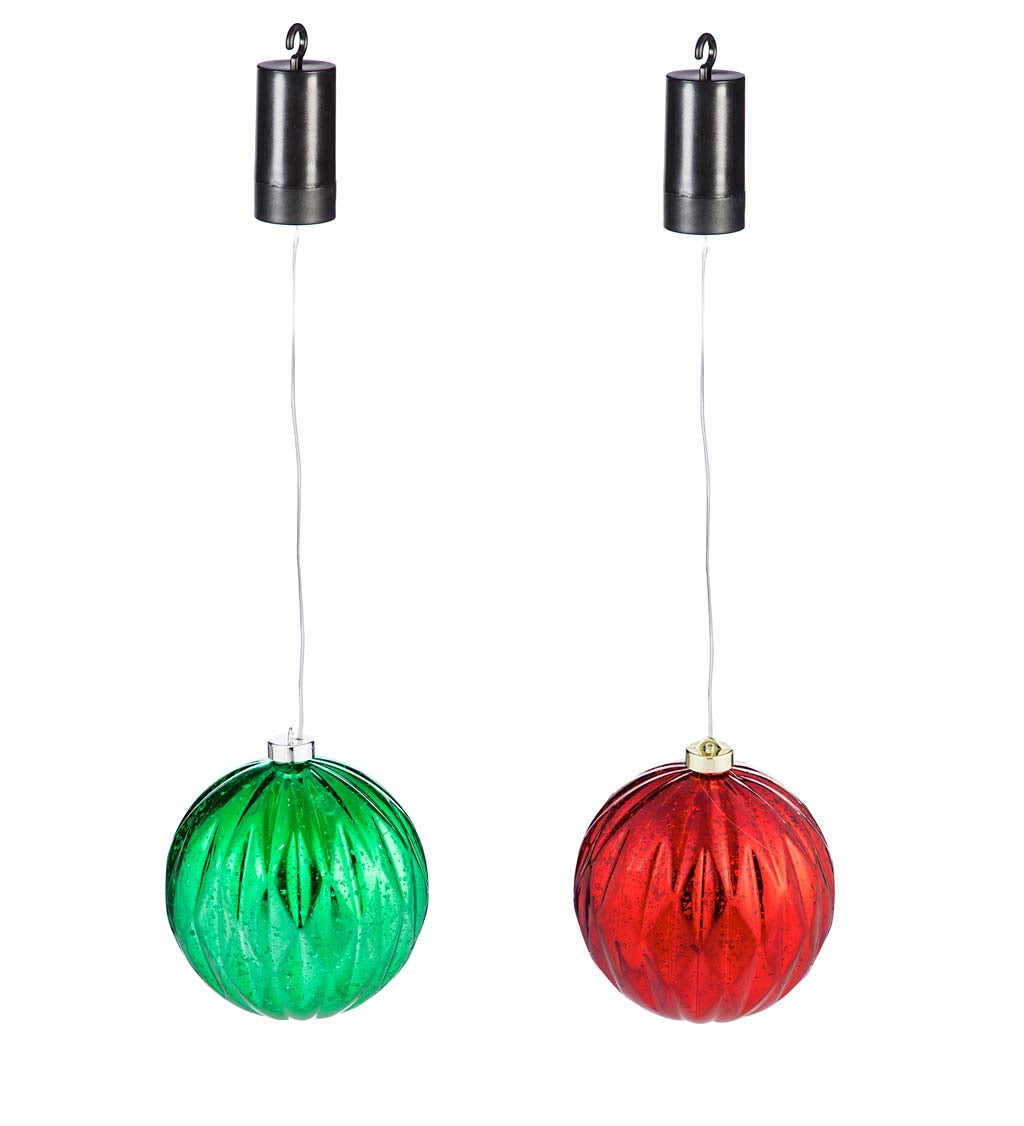 Indoor/Outdoor Shatterproof Holiday LED Lighted Hanging Ornament, Green and Red - Red and Green