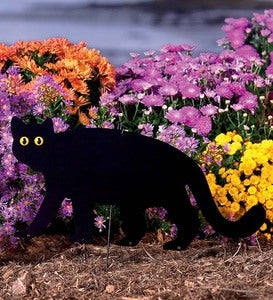Handcrafted Metal Standing Black Cat Garden Accent