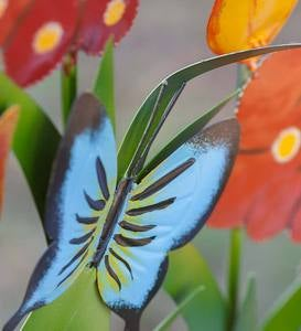 Colorful Metal 3-Panel Butterfly and Flower Garden Screen