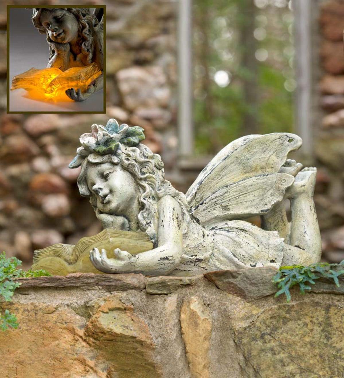 Solar Reading Fairy Garden Statue