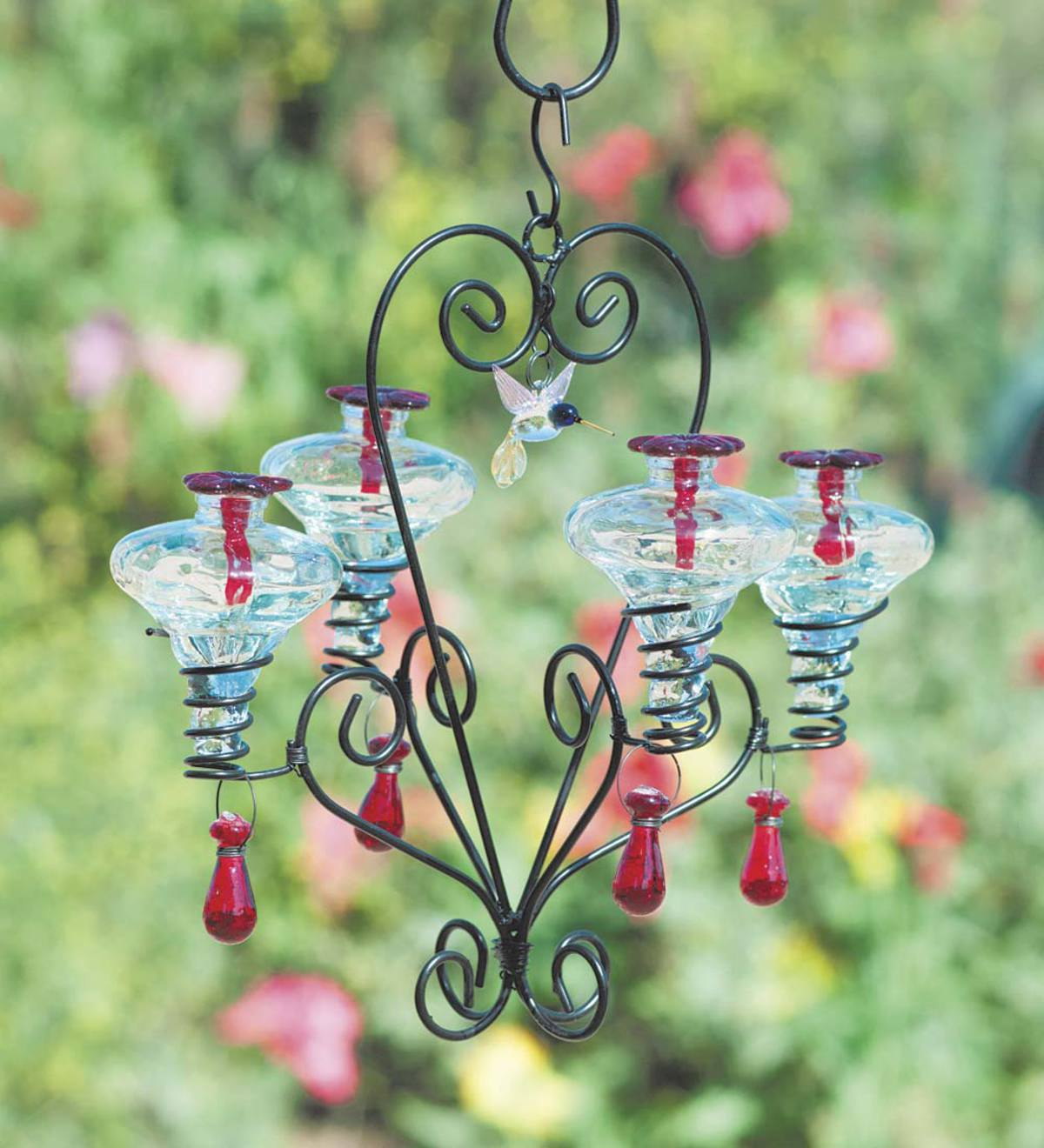 Glass Hummingbird Feeder, Four Victorian Mini Blossom