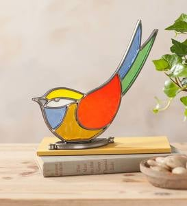 Indoor/Outdoor Colorful Stained Glass Bird Tabletop Art