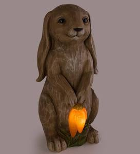 Solar Lighted Bunny with Carrots Statue