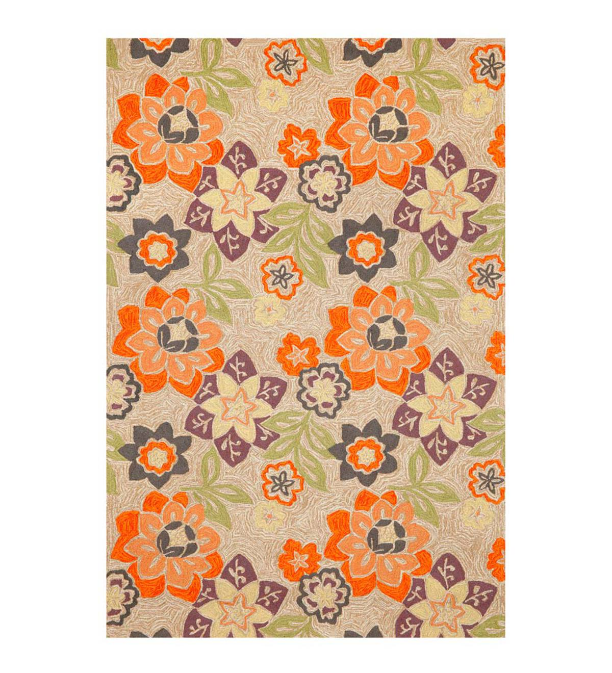 Purple and Orange Floral Accent Runner, 24&quote;W x 8'L