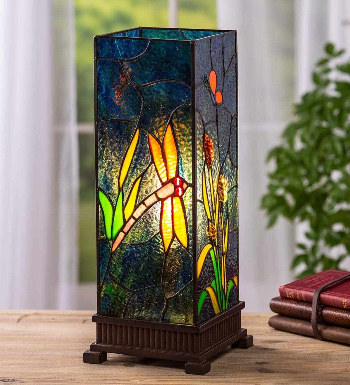 Stained Glass Dragonfly Lamp with Craftsman-Style Wood Base
