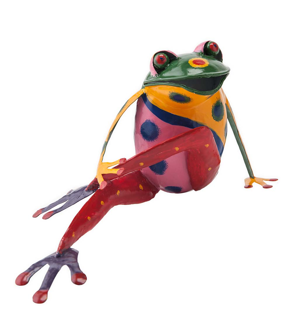 Handcrafted Colorful Metal Yoga Frog Sculpture - Green